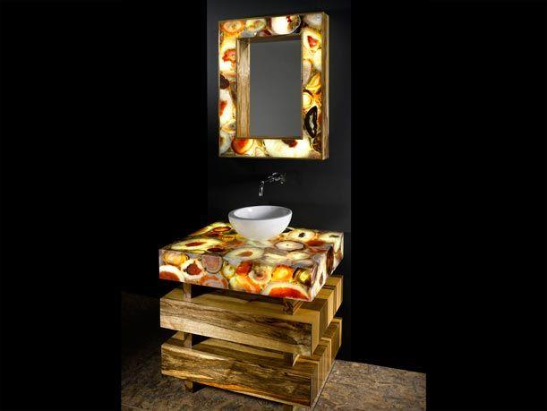 Bathroom Vanity Kansas City agate gemstone bathroom vanity backlit with led lighting. bathroom