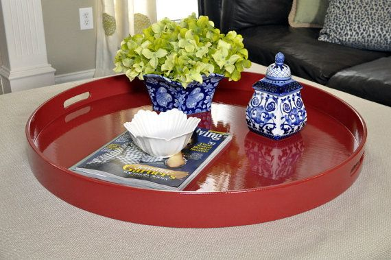 30 32 Or 36 Round Large Ottoman Tray Red Living Room
