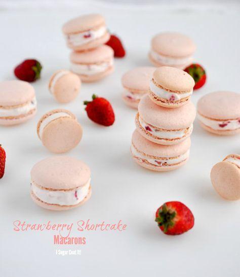 Strawberry Shortcake Macarons Recipe Macaroon Cookies