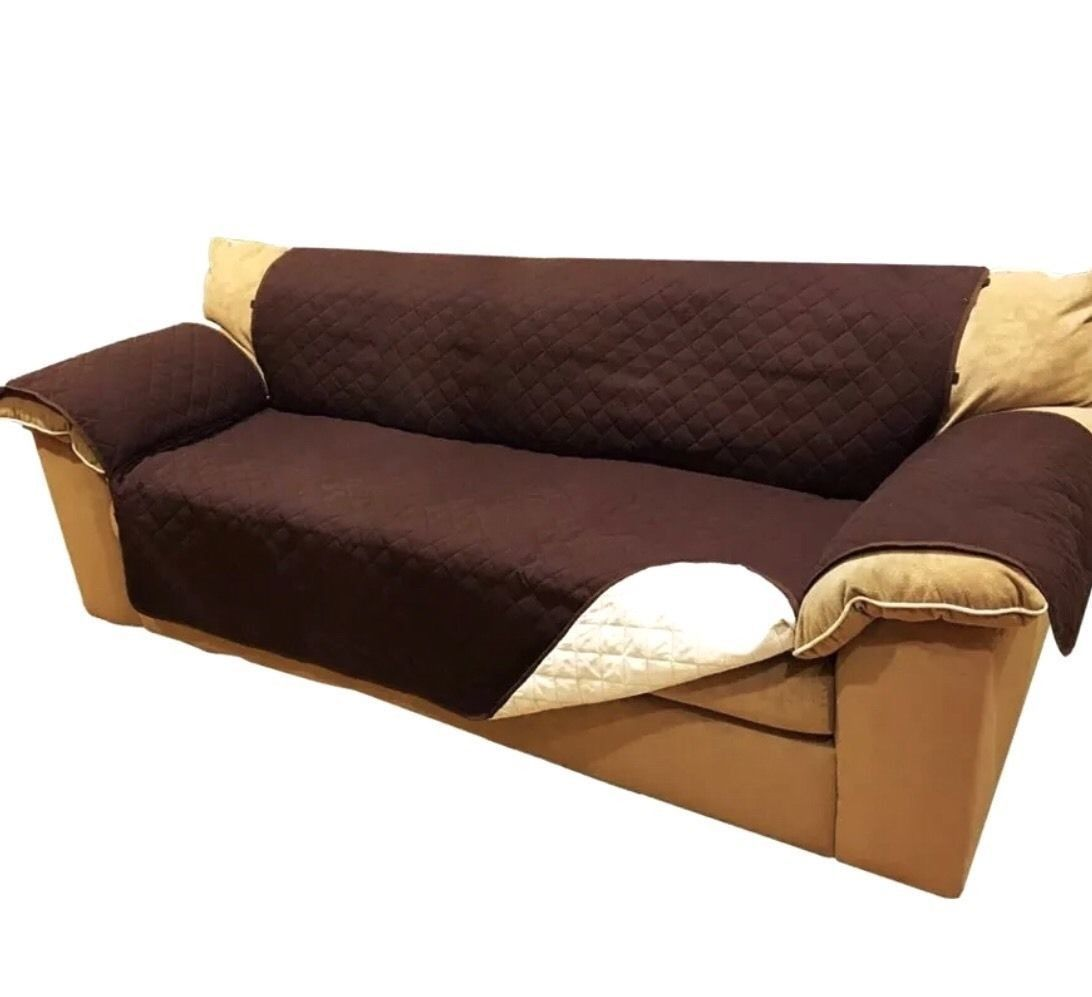 Suede Microfiber Reversible Sofa Protection Cover 75 X 110 Inch Chocolate  Cream