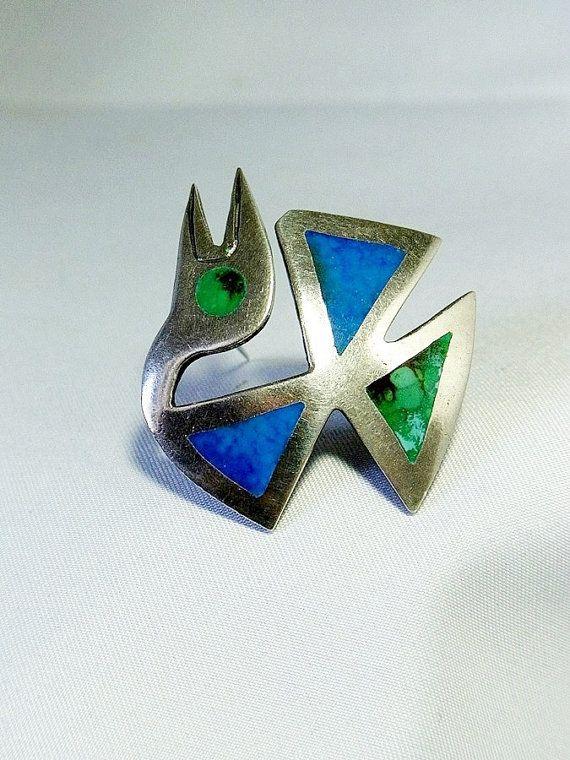 Vintage modernist Graziella Laffi Peru 925 silver designer brooch