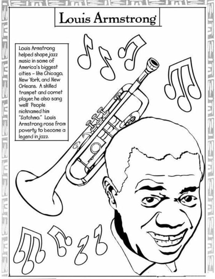Black Month Coloring Sheets Louis Armstrong 8211 Month Coloring Educacion Musical Actividades Musicales Maestro De Musica