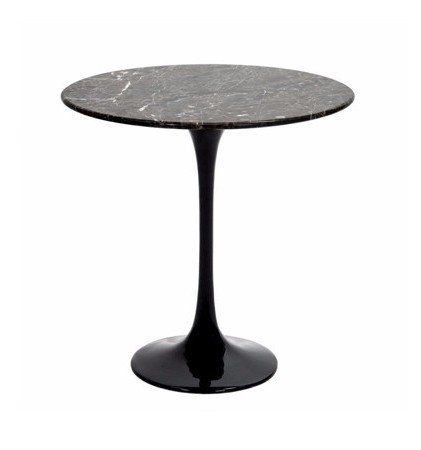 Saarinen Style Tulip Round Side Table Black Marble Living