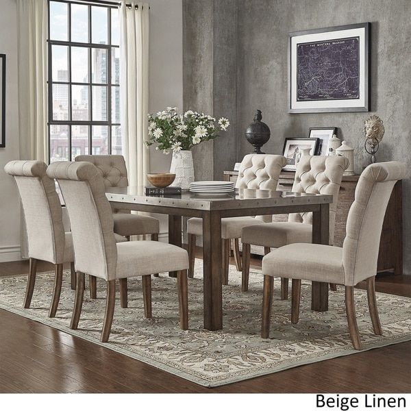 Cassidy Stainless Steel Top Rectangle Dining Table 7 Piece Set By SIGNAL  HILLS Part 90