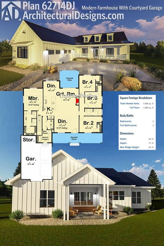 Architectural designs modern farmhouse plan 62714dj gives you 4 beds in a split layout maximizing your privacy a 2 car courtyard garage and over 1