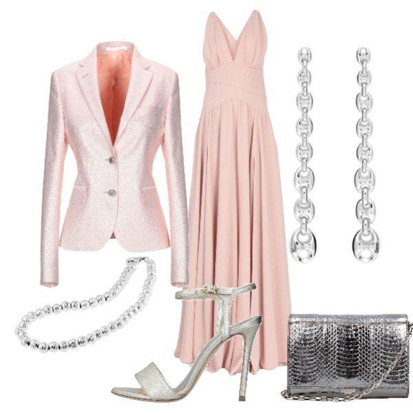 Giacca Di Raso Abito Color Rosa Antico Una Sandali Abbinato A Lungo FJTK1l3c