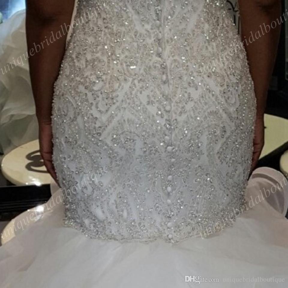 Vintage Plus Size Mermaid Wedding Dresses Beading Sweetheart Neck Backless Corset Ruffles Tulle Bling Bling Allure Bridal Size 12 Wedding Dress Wedding Dresses [ 960 x 960 Pixel ]
