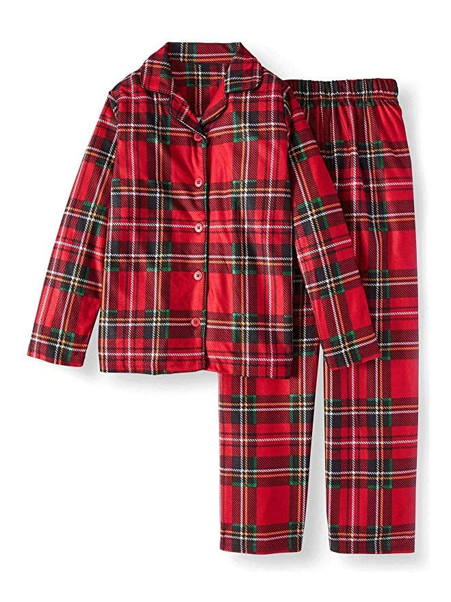 0555cfc8de61 Your little one can get ready for Christmas lounging in these awesome  flannel coat-style holiday pajamas!