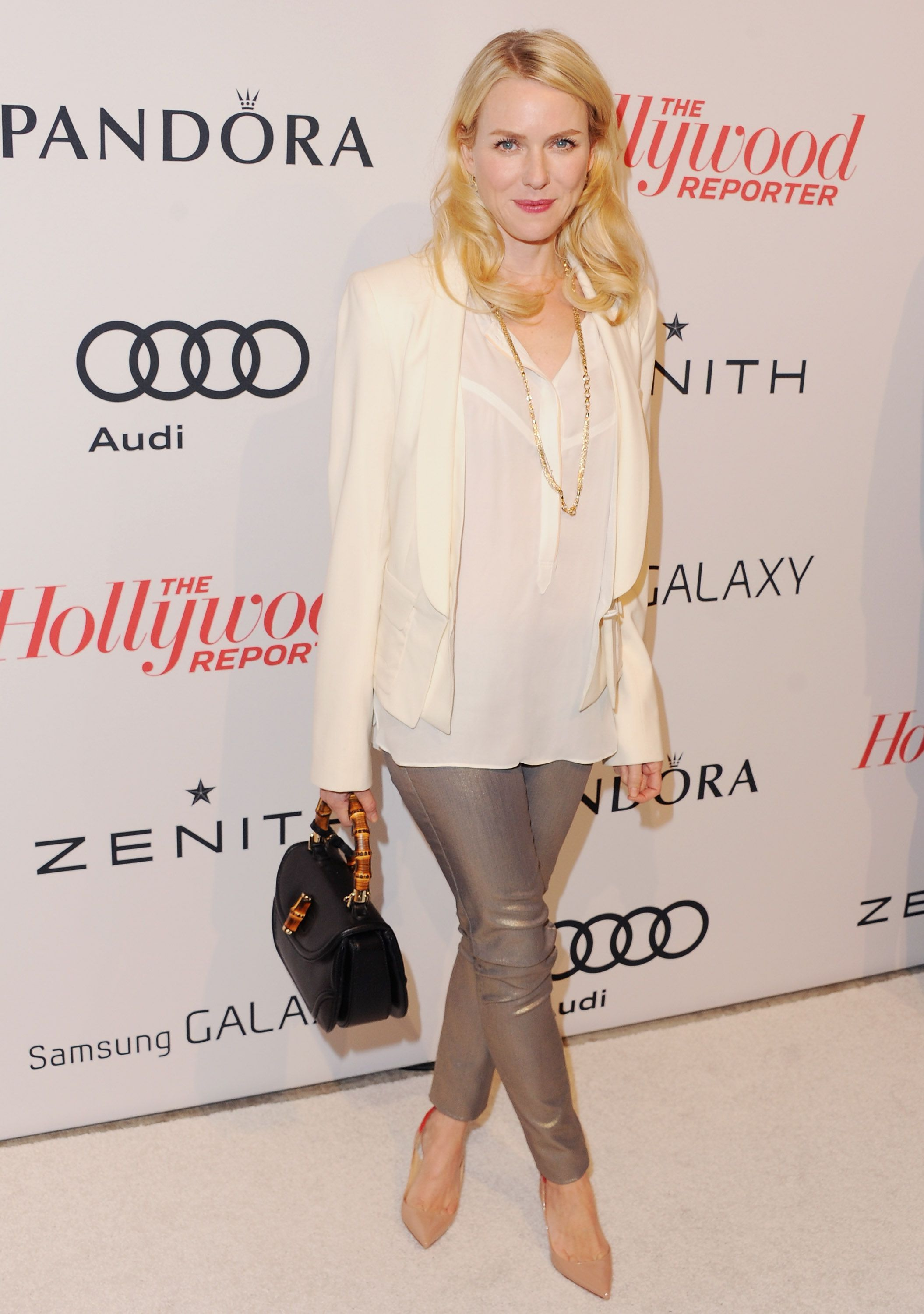 d96c4d0c4e4e Naomi Watts carried a black leather top handle Bamboo bag to The Hollywood  Reporter Nominees' Night 2013 Celebrating The 85th Annual Academy Award  Nominees ...
