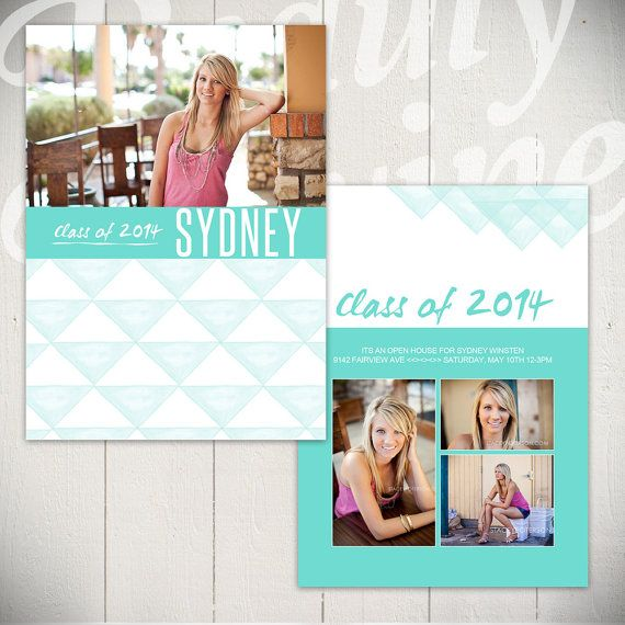 Senior graduation template - Love the the watercolor triangles on ...