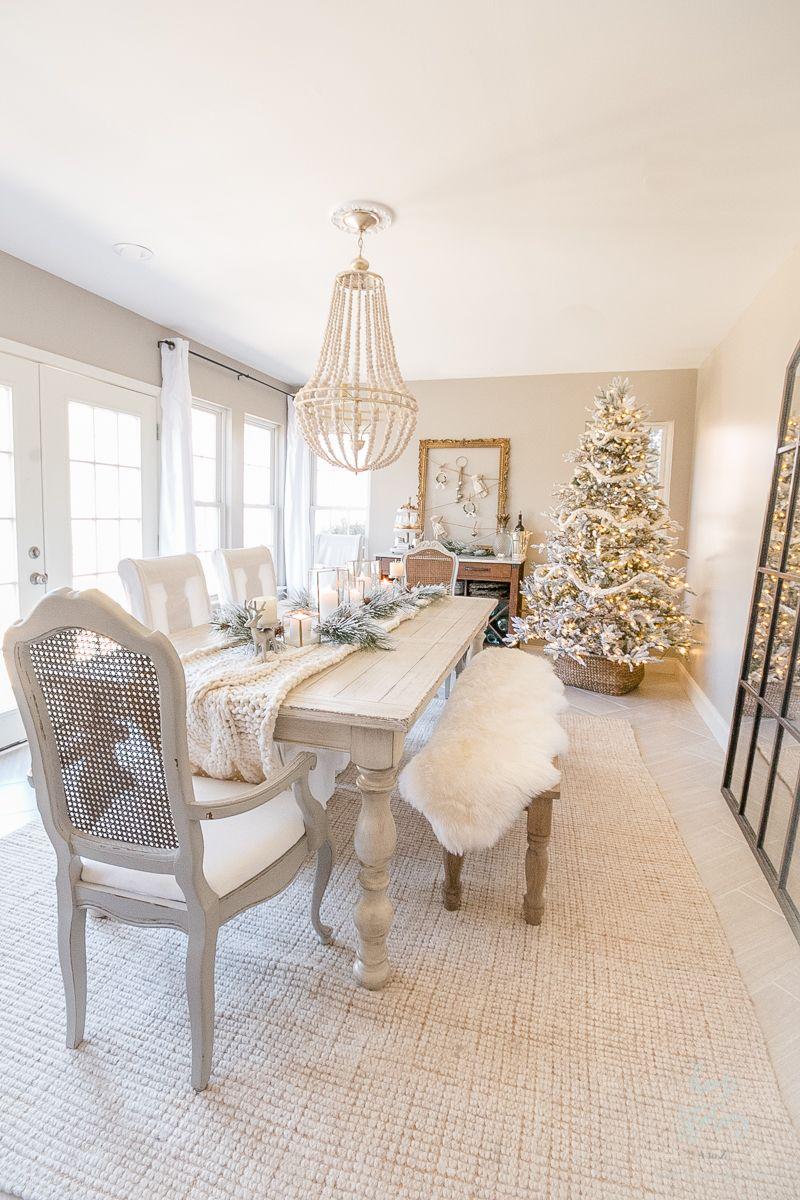 Winter White Christmas Dining Room Christmas Dining Room Dining Room Design White Dining Room