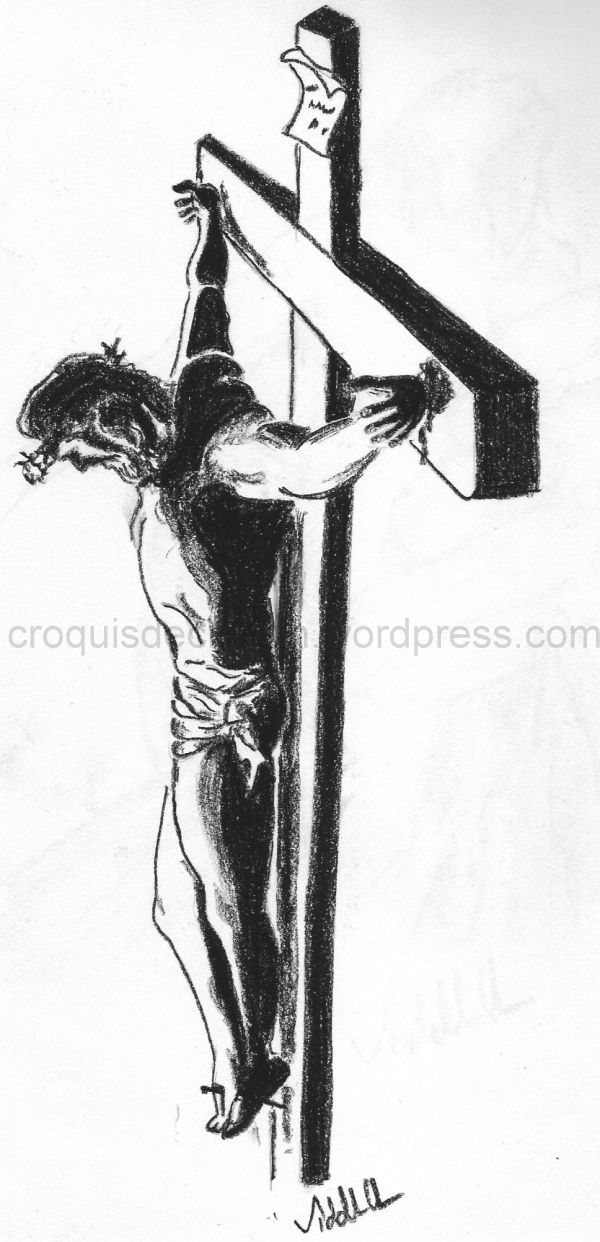 Sketch of Jesus on the cross. | Pencil Sketches ...