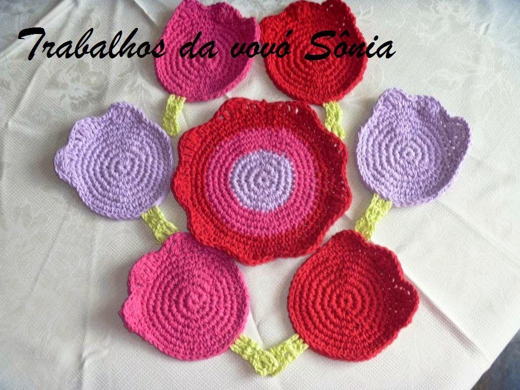 Trabalhos da vovó Sônia: Porta-copos (descanso para copos) tulipas Analu - ...