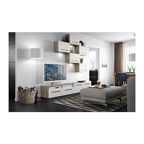 Ikea Nachtkonsole bestå combinação móvel tv efeito nogueira velat cinz marviken