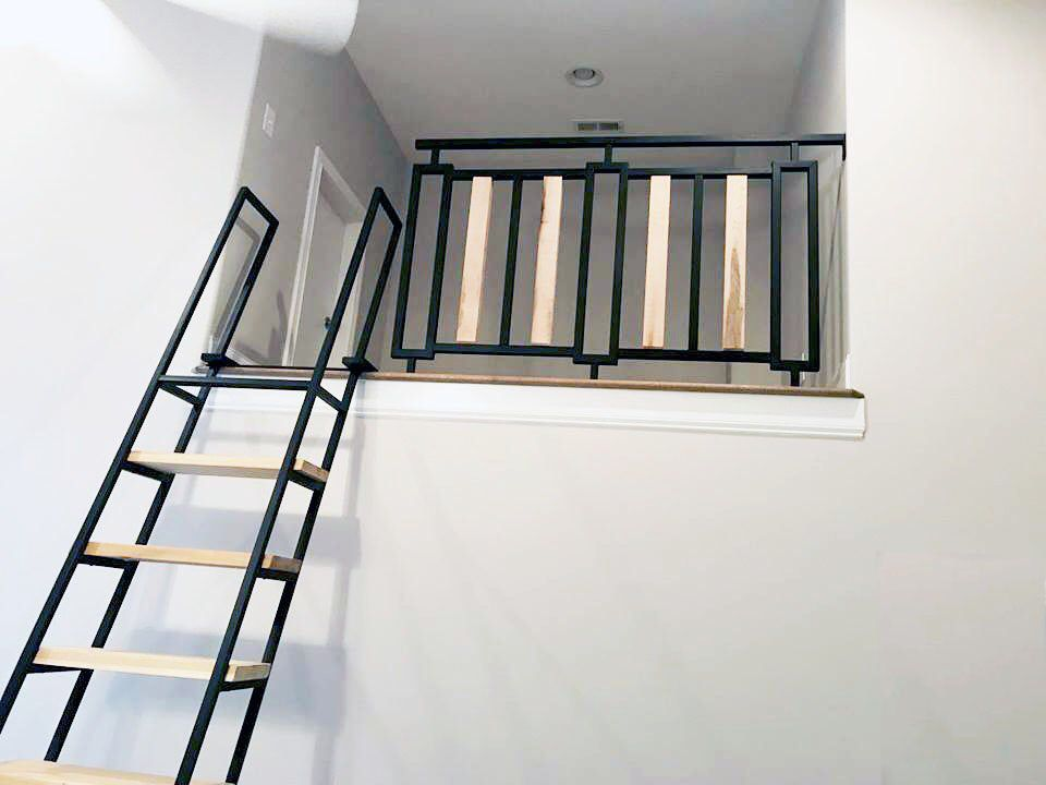 10 Ft Loft Ladder In 2020 Loft Ladder Loft Railing White Barn Door