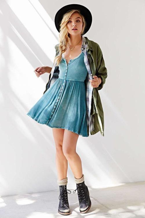 Look casual. Dress. Light blue.