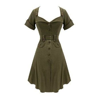 8831900e4ada8 Vintage Clothing for Women | ... Military Army Vintage 1940s Retro Dress s  10: Amazon.co.uk: Clothing