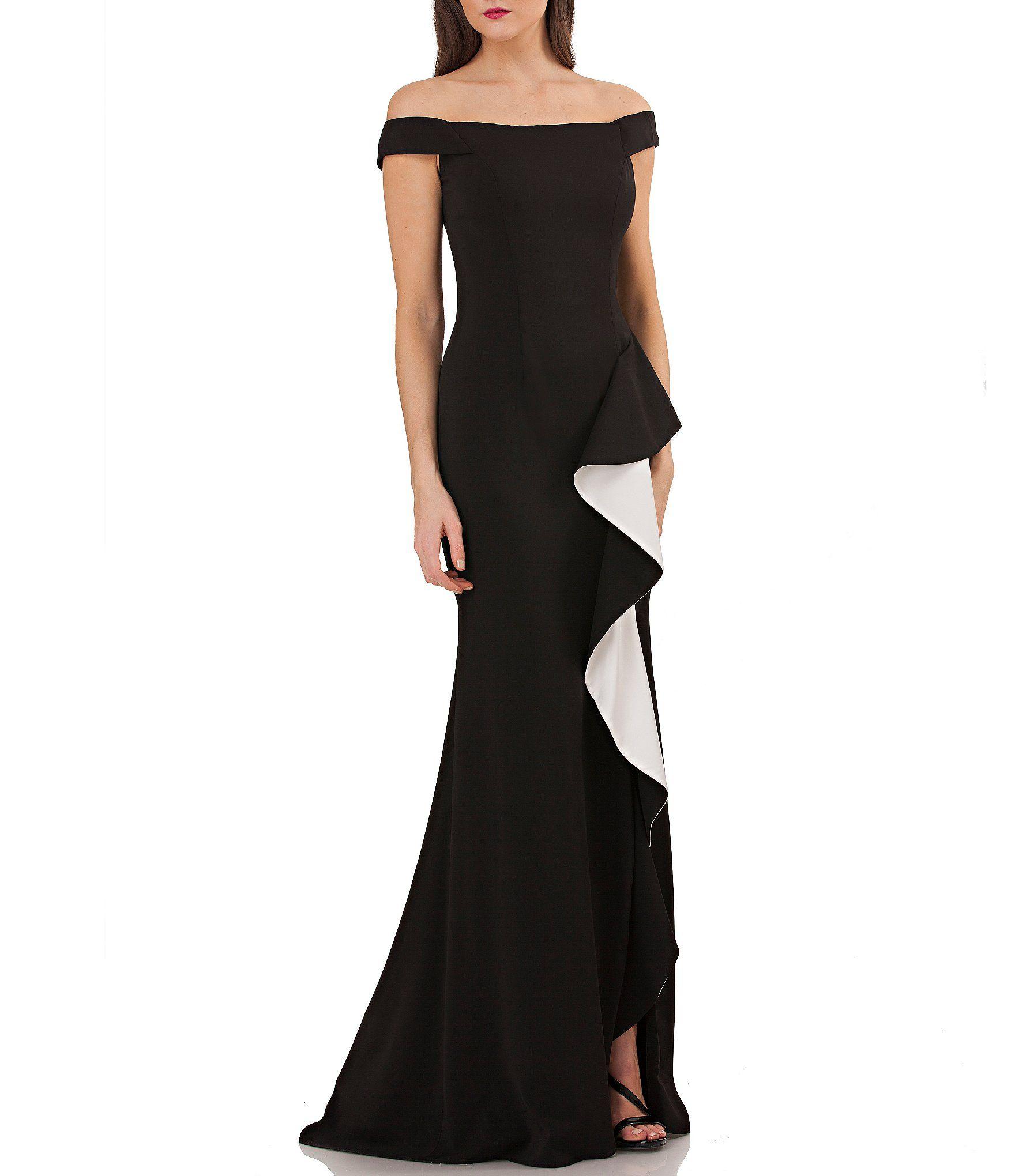 Carmen Marc Valvo Infusion OfftheShoulder Ruffle Gown #Dillards ...
