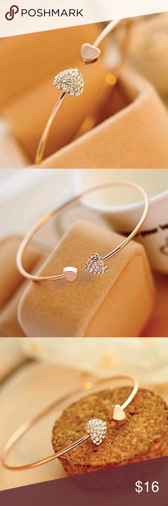 Heart bracelet gold color crystal love opening brand namelaq