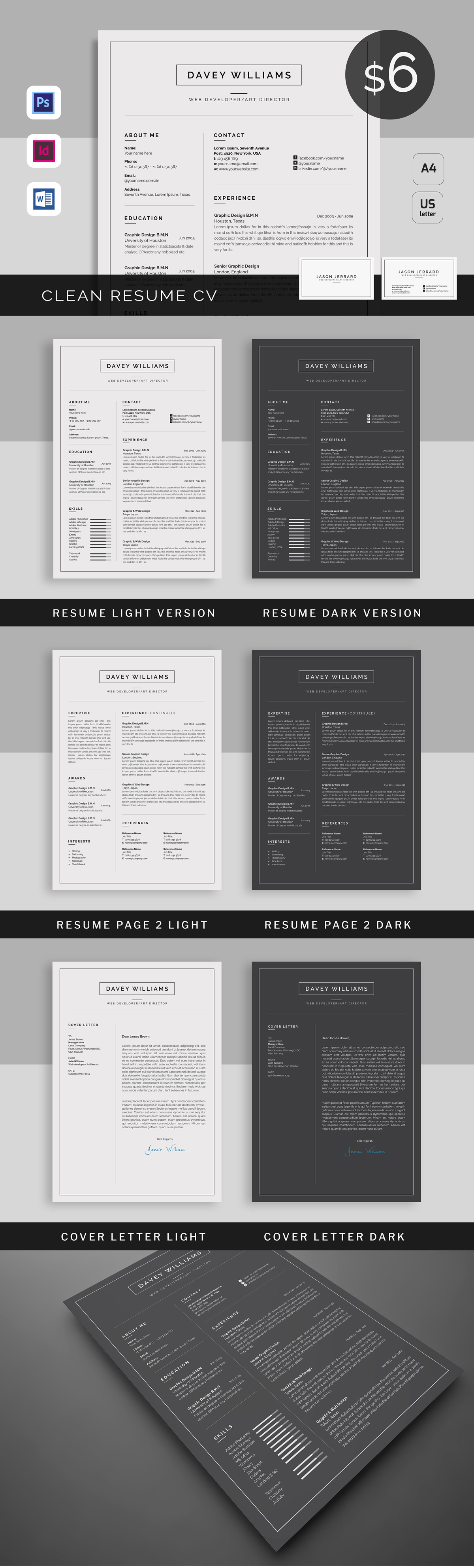 Resume/CV Template PSD, INDD Resume cv, Resume, Resume