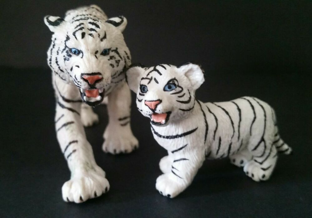 Set of 5 Tiger Dollhouse Miniatures Clay Figurine