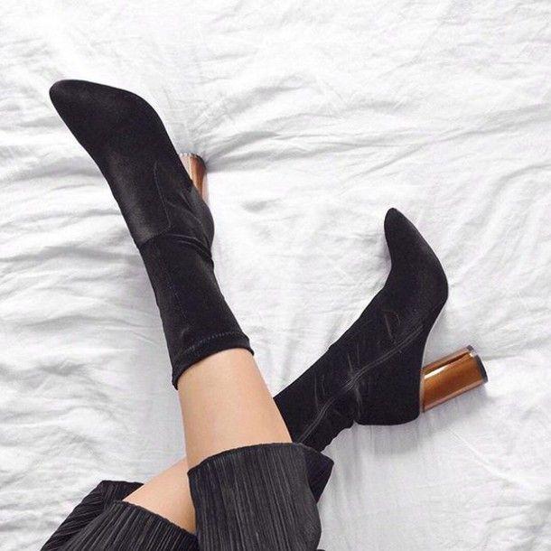 6ec49f5993fd Shoes  tumblr velvet velvet velvet boots thick heel block heels pointed  boots