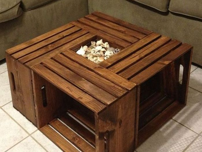 crab crate side table treasure chest trunk starfish scallop by beach house decor