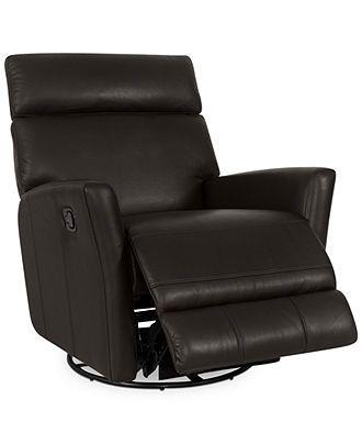 Jonah Leather Swivel Glider Recliner Chair - Furniture - Macy's