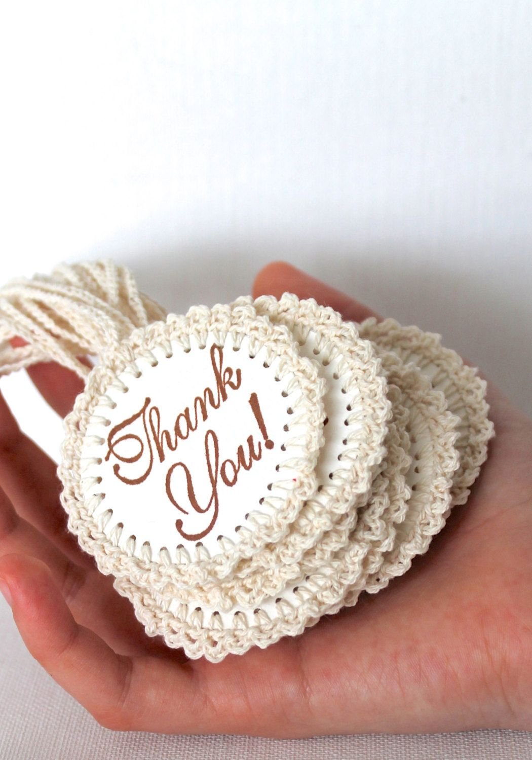 THANK YOU Gift Tags Handmade Crochet Circles One Tag Only. $3.00 ...