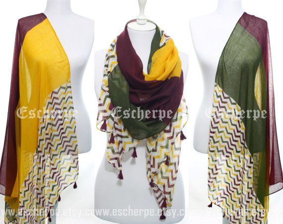 Hey, I found this really awesome Etsy listing at https://www.etsy.com/il-en/listing/190768636/chevron-scarf-yellow-wine-green-zigzag