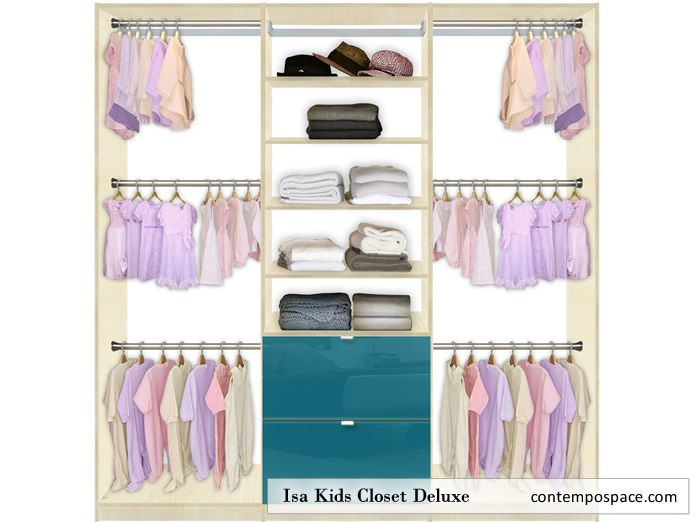 Isa Kids Closet Deluxe Closets Can Have Triple Hang Rods Since Their Clothes Are