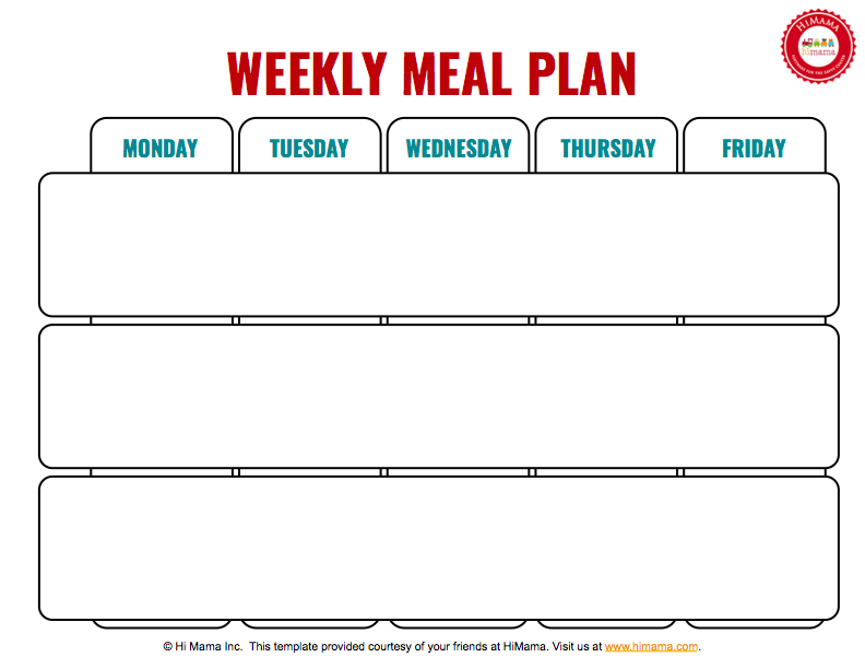 Meal Day Care Weekly Menu Template MonFri  Day Care Menu