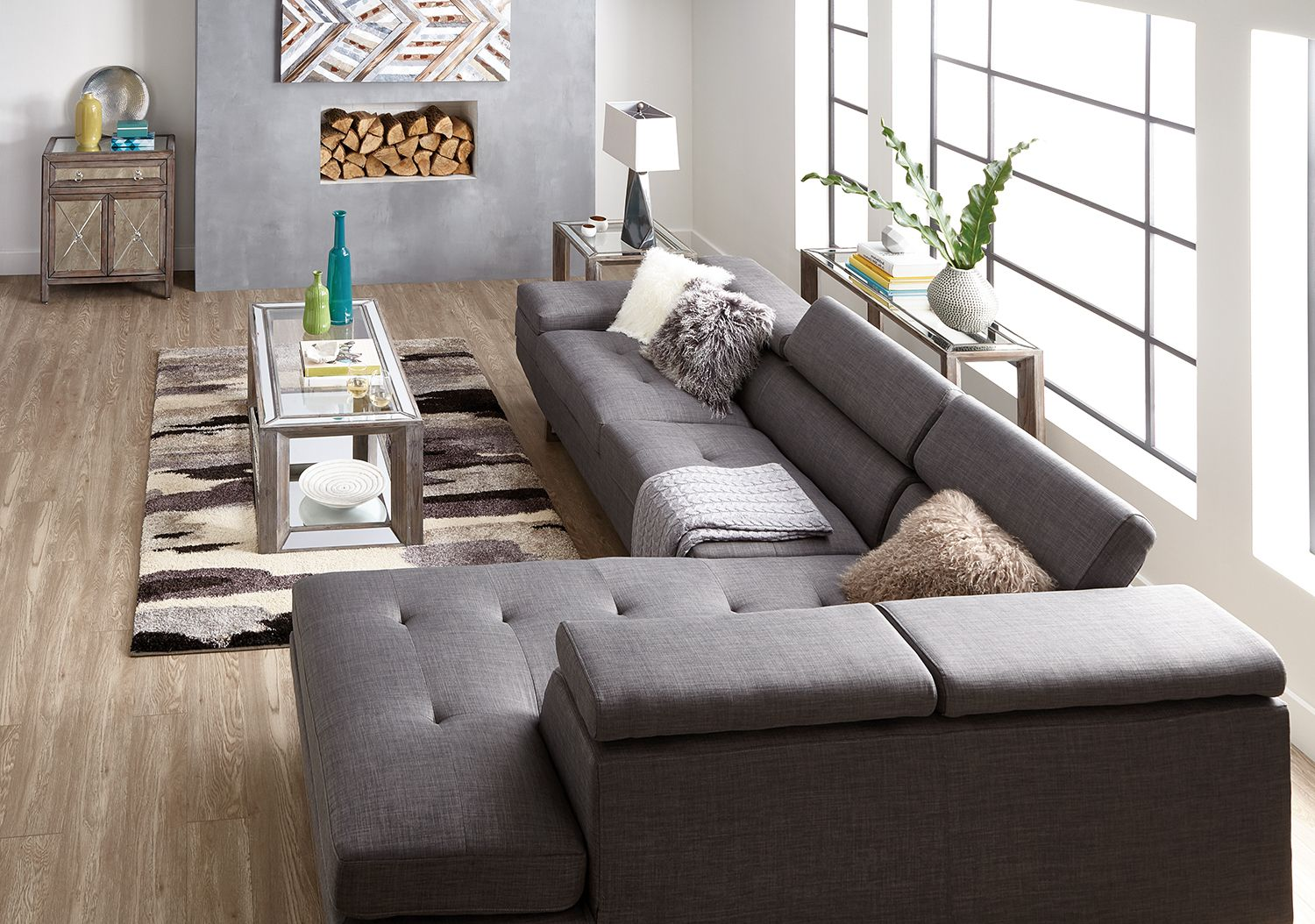 zeke 2 piece linen look fabric right facing sectional steel