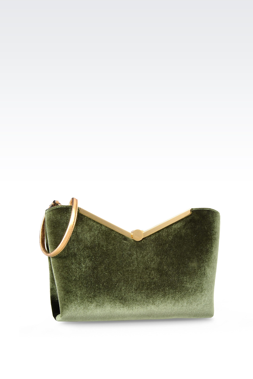 eb0c31b139c7 Emporio armani Velvet Clutch in Green
