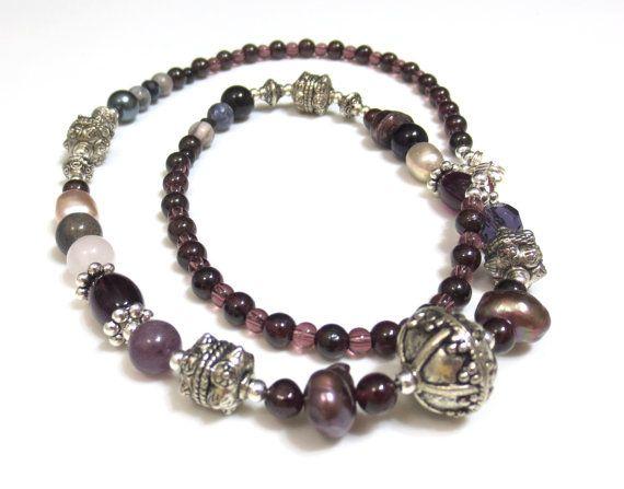 "18/"" Royal Purple Beaded Tassel Classic Vintage Handmade Bali Necklace"