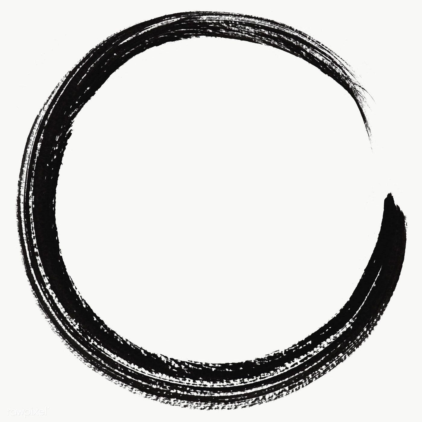 Round Abstract Black Brush Stroke Transparent