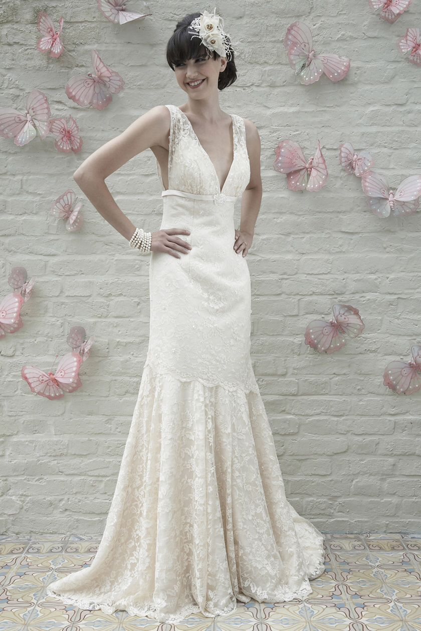 My beautiful vintage lace wedding dress pink grey u champagne