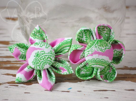 Green & Girly pink and green dolly and me kanzashi flower set on alligator clips on Etsy, $13.00