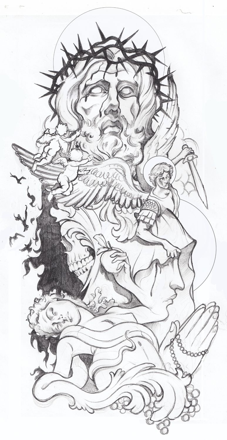 3/4 sleeve tattoo design for a close friend.                                                                                                                                                                                 More -   24 religious tattoo sleeve