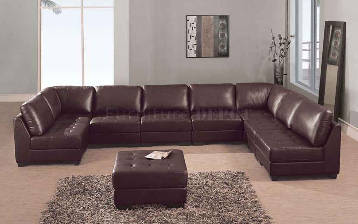 7 Seat Sectional Sofa In 2020 Brown Sectional Sofa Italian Leather Sofa Leather Couch Sectional