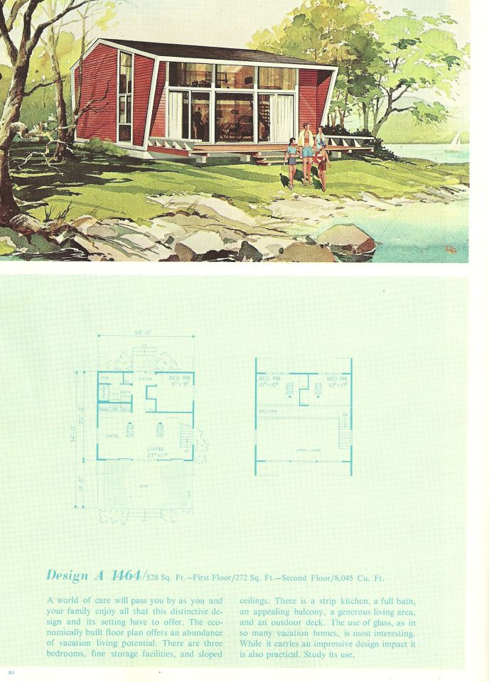 vintage house plans, vacation home plans, 1960s homes | hearth and