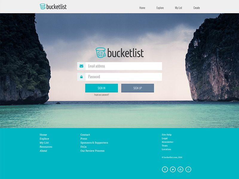 Bucketlist Login Bucket List Login Design Login