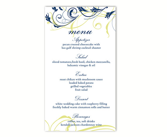 Wedding Menu Template DIY Menu Card Template Editable Text Word - menu printable template