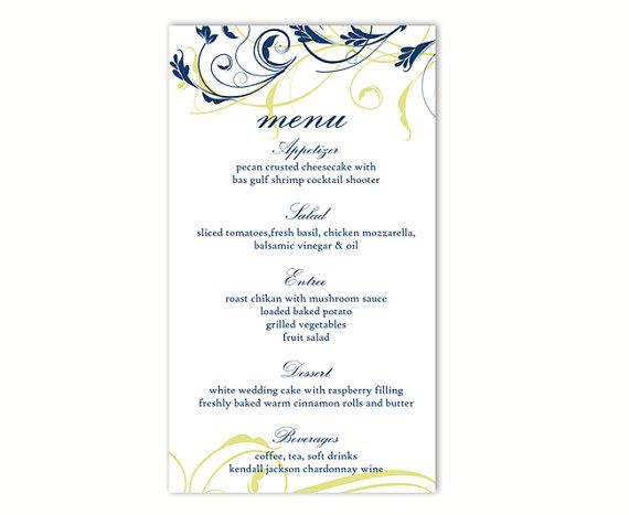 Wedding Menu Template DIY Menu Card Template Editable Text Word - menu printable template