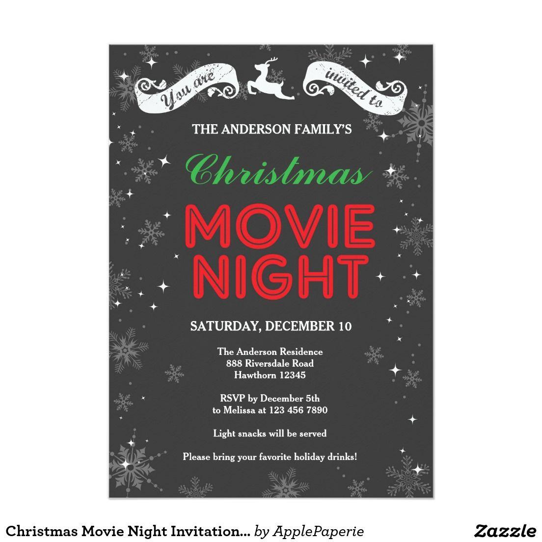 Christmas movie night invitation christmas movie