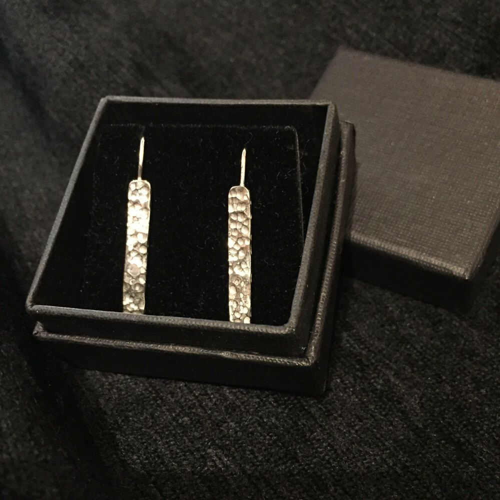 S013 Sterling Silver British Handmade Textured Long Drop Earrings On Ear  Wires  Hallmarked By Notionjewelleryshop