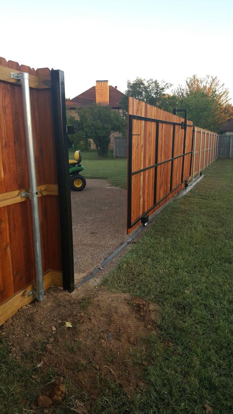 Side By Side Manual Sliding Gate Fence Gate Design Fence Gate Wooden Fence Gate