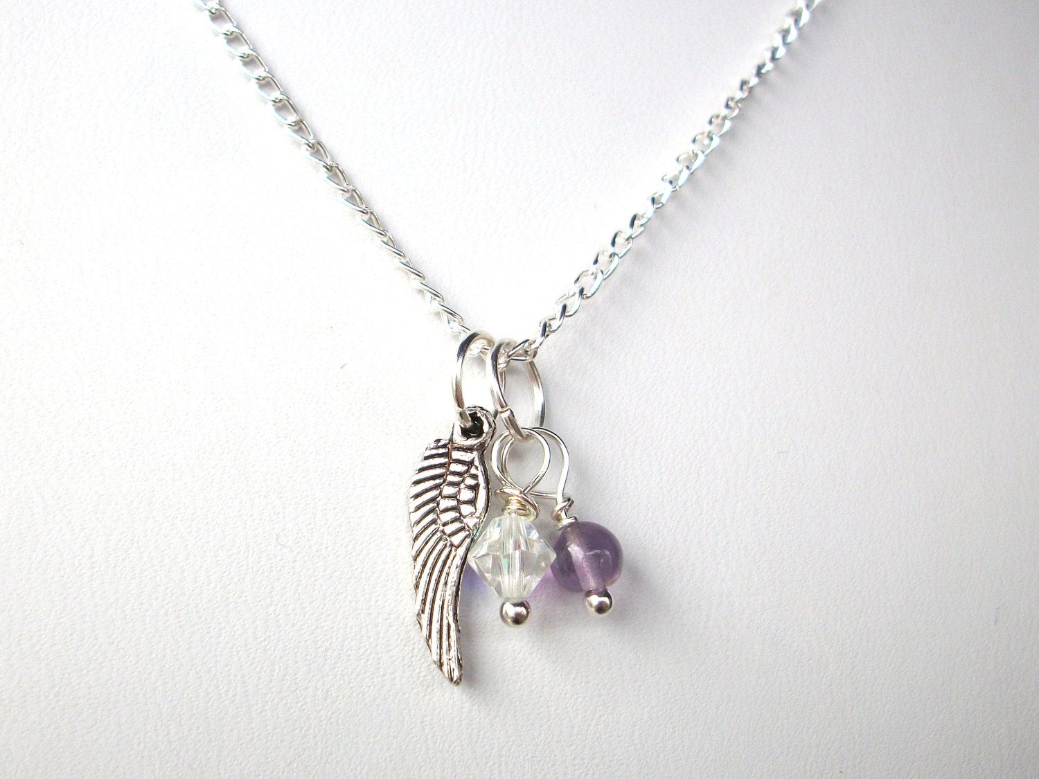 Miscarriagenecklacetwobirthstonesandsilverbystarjewels miscarriage necklace two birthstones and silver angel wing on silver chain infant twin loss remembrance aloadofball Choice Image