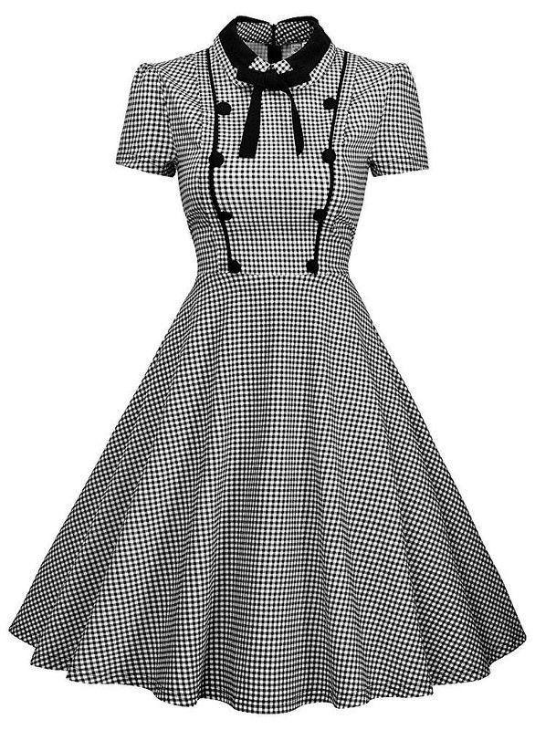 Missmay Women S Elegant Vintage 1940 S Short Sleeve Plaid Swing Dress Vintage Swing Dress Swing Dress Vintage Dresses