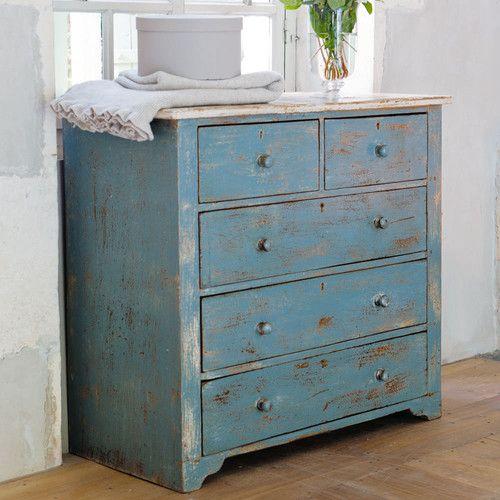 Commode en manguier bleue effet vieilli L 94 cm - designer kommoden aus holz antike